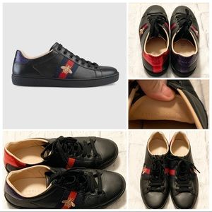 Gucci Ace Embroidered Bee Sneakers Like New! Black